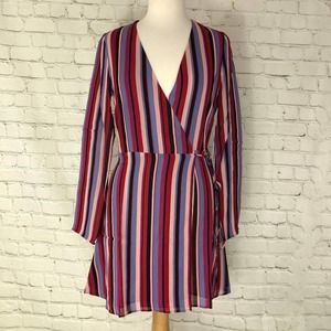 Reformation Striped Wrap Dress Size Small